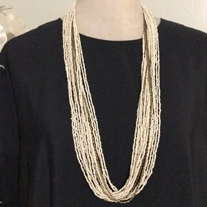 WHITE & GOLD LONG NECKLACE